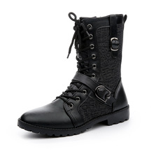 Botas de moto de Cuero Hombres 2017 de Invierno Cremallera Lateral En Tubo Macho Punk Negro Marca Lace Up Moda Hebilla Zapatos Hombres Botas Hombre