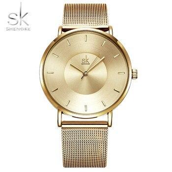 8c4e34449a14 Shengke moda negro mujeres relojes 2018 de alta calidad Ultra delgado reloj  de cuarzo mujer elegante vestido señoras reloj Montre Femme SK