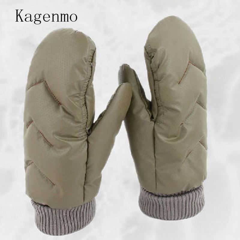 Kagenmo New Full Finger Female Gloves Super Warm Thick Villus Gloves Duck Down Male Keep Warm Gloves