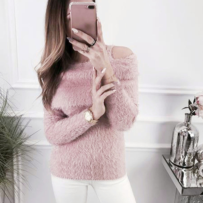 Bigsweety Elegant Sweater Women 2018 Autumn Winter Off  The Shoulder Shawl Plush Sweater Female O-Neck Slim Pullovers Tops