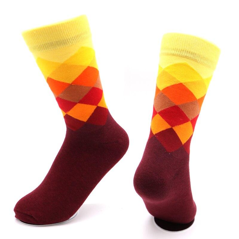 d46fb1b28622b Pour hommes chaussettes Plaid Calcetines dégradé couleur coton mélanges  chaussettes pour hommes décontracté Long Hip Hop chaussettes hommes  Chaussette Homme ...
