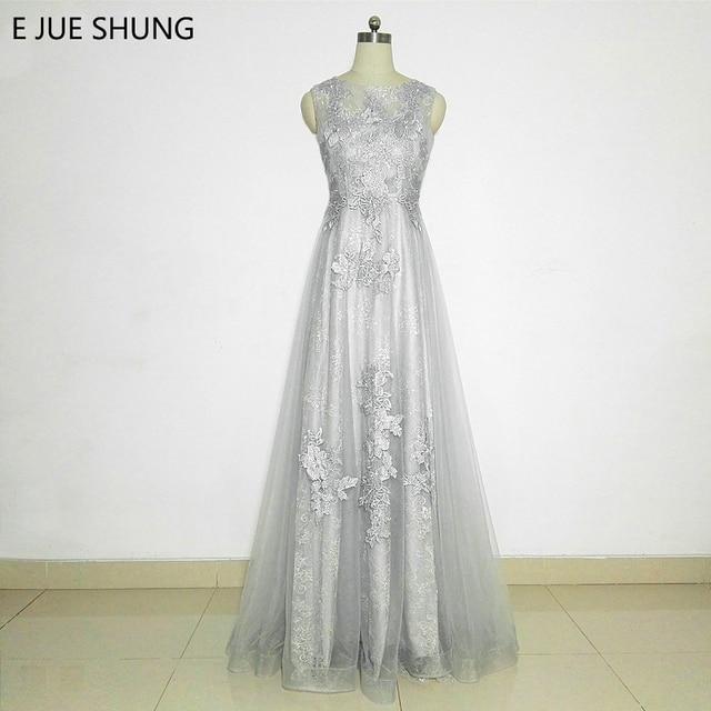 E JUE SHUNG Silver Lace Long Evening Dresses