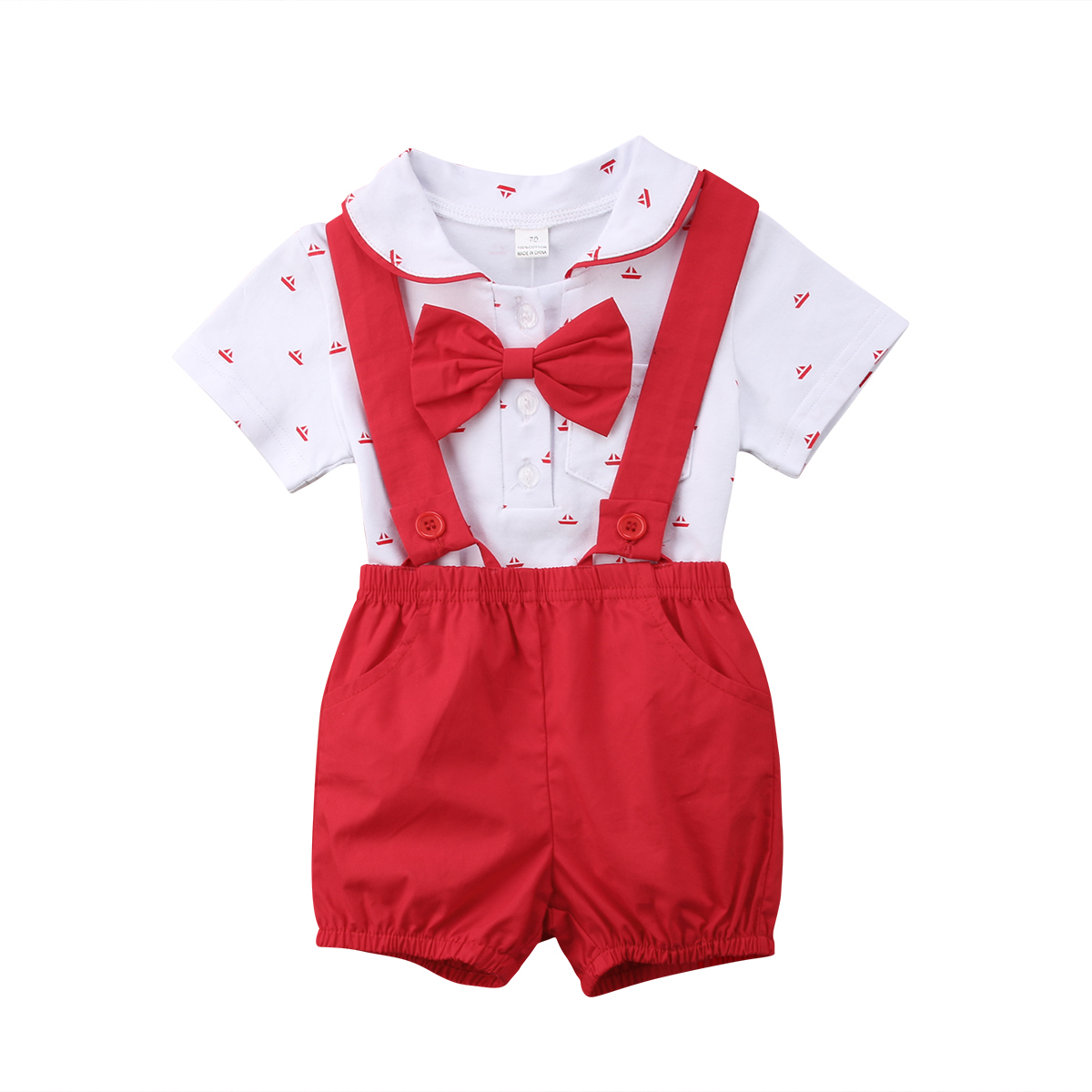 Pudcoco Newborn Toddler Baby Boy Girl Clothes Short Sleeve Bownot Bodysuit+Short Pants Outfits Set 0-24 Months Helen115
