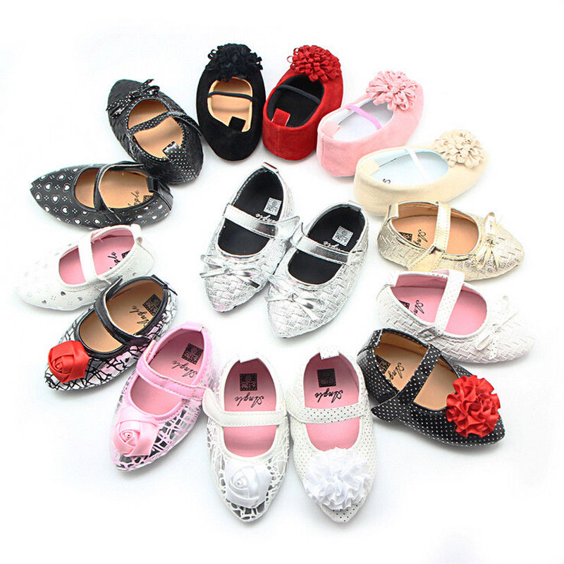 FASHION Newborn Infant Baby Girls Shoes First Walkers Sweet Party Princess Shoes Glitter Strip Ballet Shoes High-Heeled Shoes