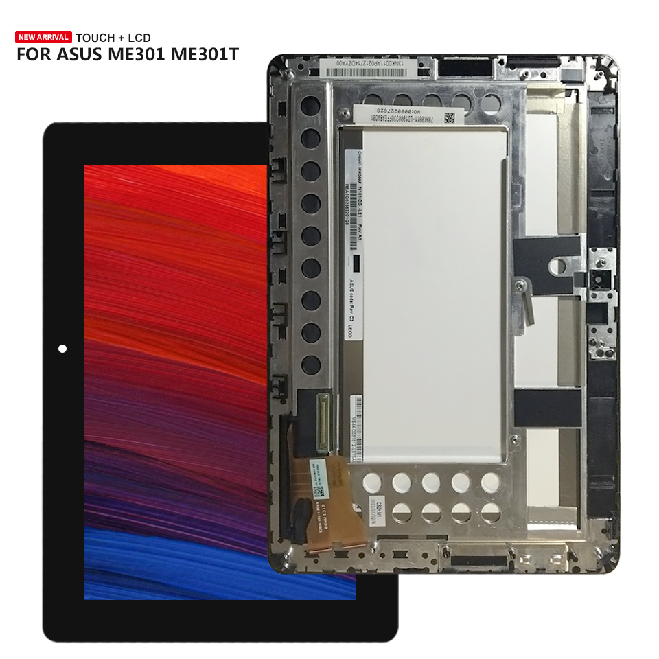все цены на For Asus MeMo Pad Smart 10 ME301 ME301T 5280N LCD Display Touch Screen Assembly Replacement with Frame онлайн