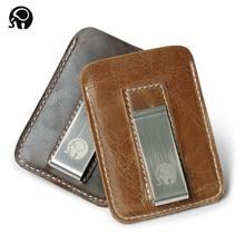 Из натуральной кожи зажим для денег металлический мужской пакет для карт тонкий Зажим для купюр тонкий держатель для денег дешевый