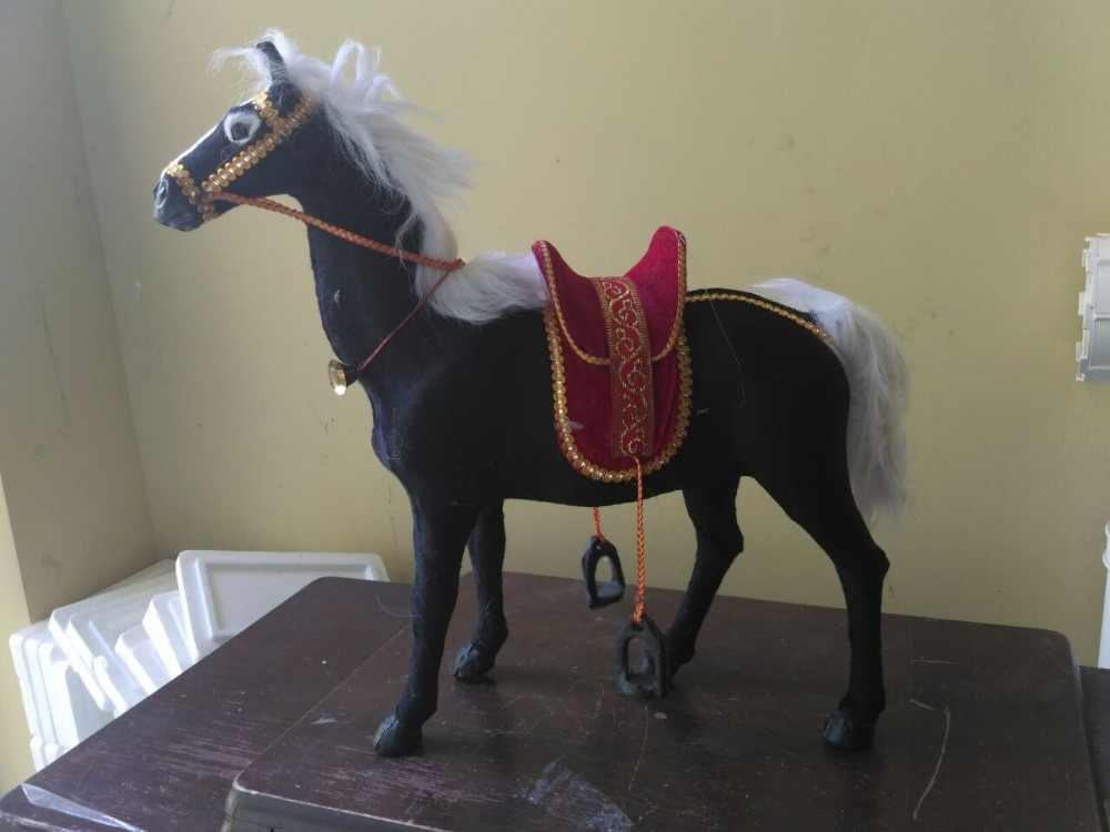 Большой моделирования Творческий лошадь модель полиэтилен и мех черный конь кукла около 50x44 см 1691