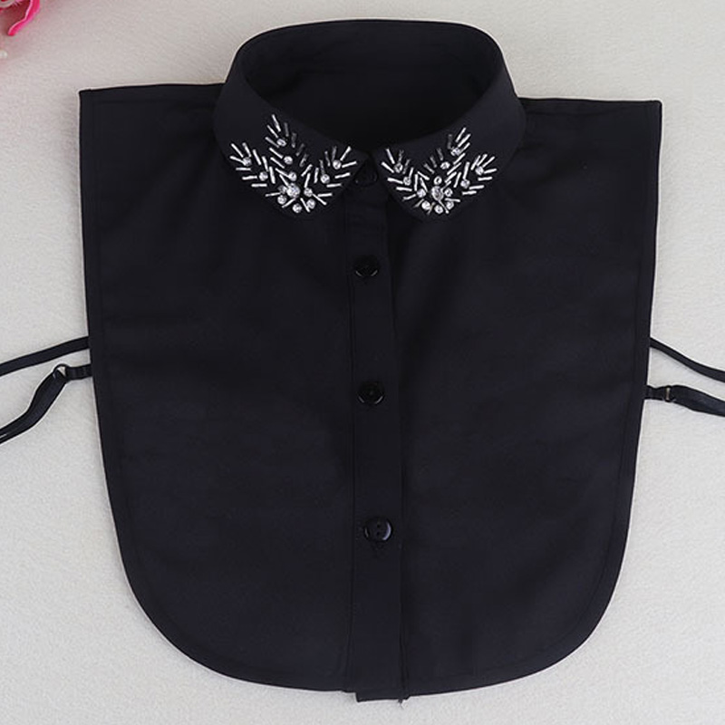 V-neck Turn Down Detachable Fashion Necklace High-grade Shirt Beaded Flower Removable Decorative Fake Shirt Floral Female False