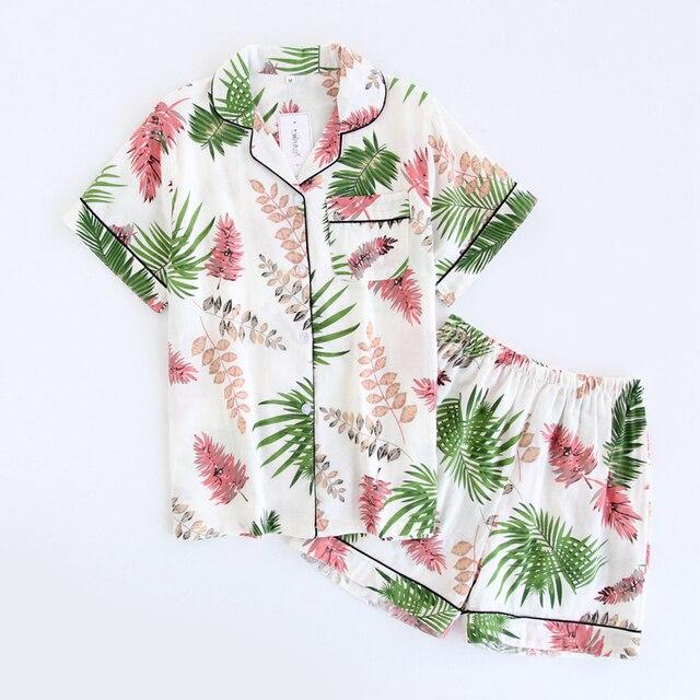 a173fb5666 Short Sleeve Cotton Yarn Women Summer Pajamas Set Fernleaf Hedge Bamboo  Lady Shorts Sleepwear Pijamas Suit Sleep Wear Pyjamas