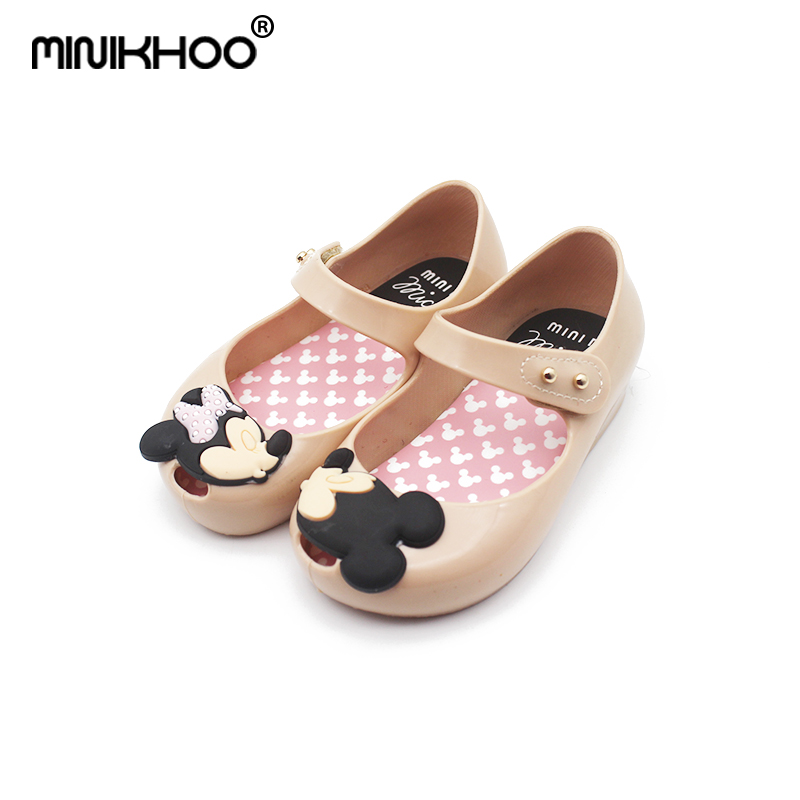 Mini Melissa Mickey & Minnie Cartoon Girls Jelly Sandals 2018 New Girls Melissa Jelly Sandals Baby Water Shoes 11.8cm-18.8cm