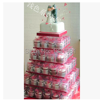 6 Tier Square Cupcake Cup Cake Stand Tower Clear Maypole Acrylic Wedding Party