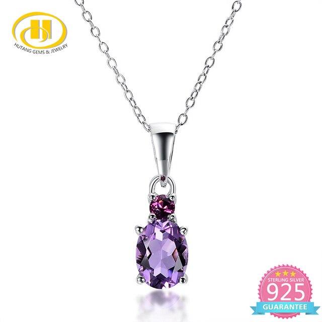 3fc608bd6ab1 Hutang natural amatista africana y rhodolite sólido plata esterlina 925  joyas de piedras preciosas collar de