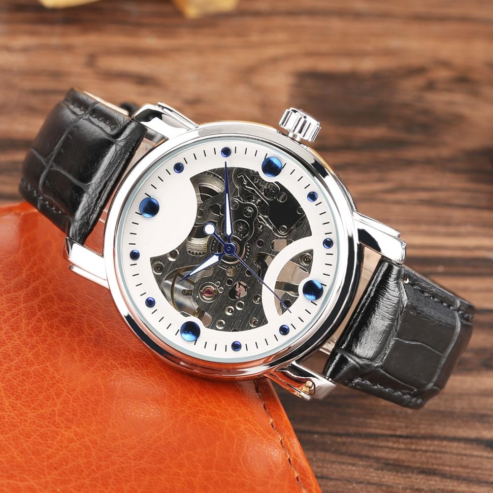 corda transparente pulseira esqueleto automático relógios práticos luz da noite