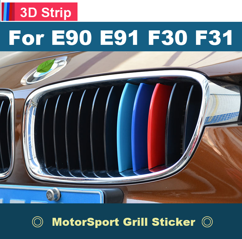 3D Car Front Grille Trim M sport Strip Grill Cover Performance Sticker for 2005 to 2017 BMW 3 Series E90 E91 F30 F31 F35