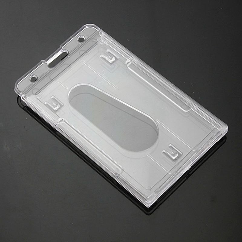 Kicute 2pcs/lot Vertical Hard Transparent Plastic Badge Holder Double Card ID Bussiness Office School Stationery 10x6cm
