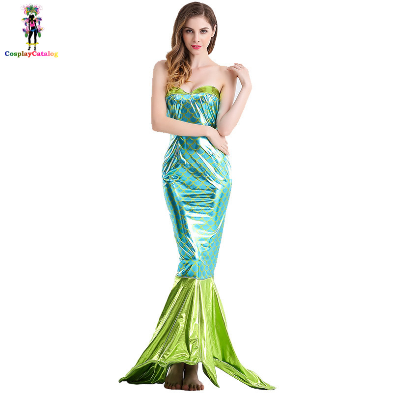 Sexy Sea Creature Fairytale Mermaid Costume Green Tube Dress with Gold Scales Adult Halloween Party Costumes For Woman Size S-XL