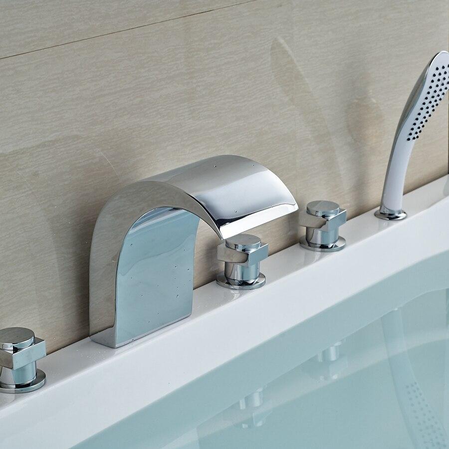 Здесь продается  Wholesale And Retail Promotion Luxury Chrome Brass Waterfall Bathroom Tub Faucet W/ Hand Shower Sprayer Mixer  Строительство и Недвижимость