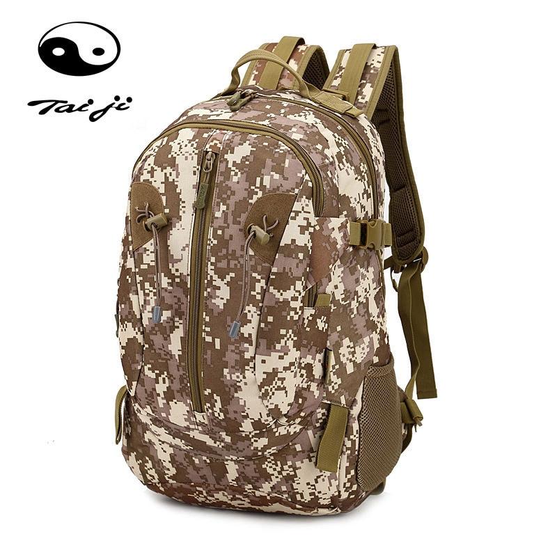 Taiji Large Capacity Hiking Camping Bag Army Military Tactical Trekking Rucksack Backpack Camo Bag Outdoor Sport Waterproof