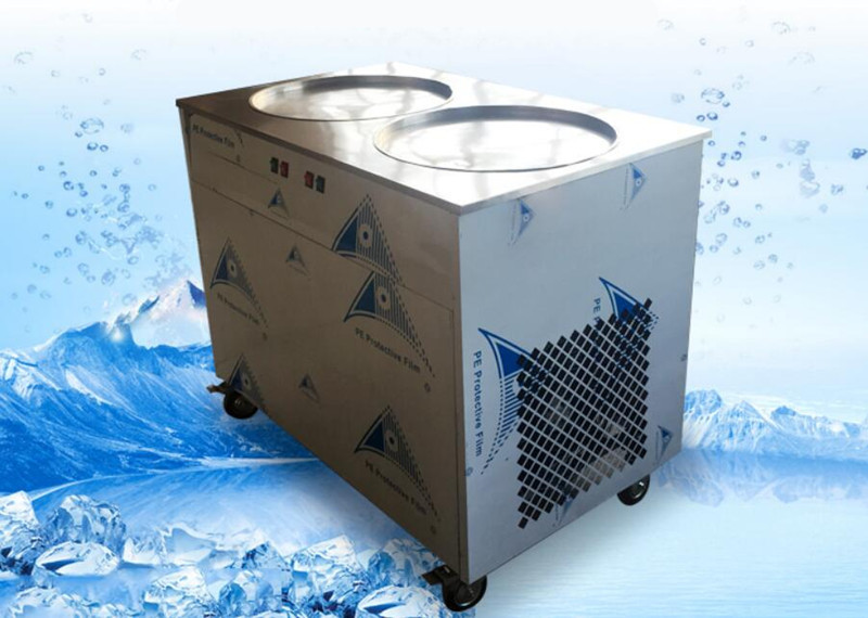 freight free 220V R404A fried ice cream roll machine,double compressor ice pan machine,double round pan rolled ice cream machine free shipping big pan 50cm round pan roll machine automatic fried ice cream rolling rolled machine frying soft ice cream make