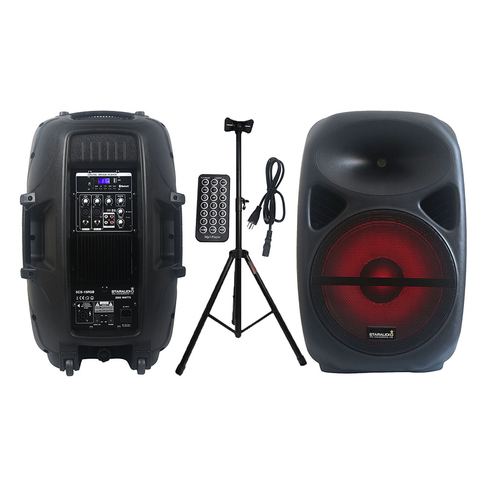 STARAUDIO 2500W PA 15 DJ Active Powered RGB Light Speaker Bluetooth Speaker Party Stage Karaoke Audio Speaker Stand SCS 15RGB