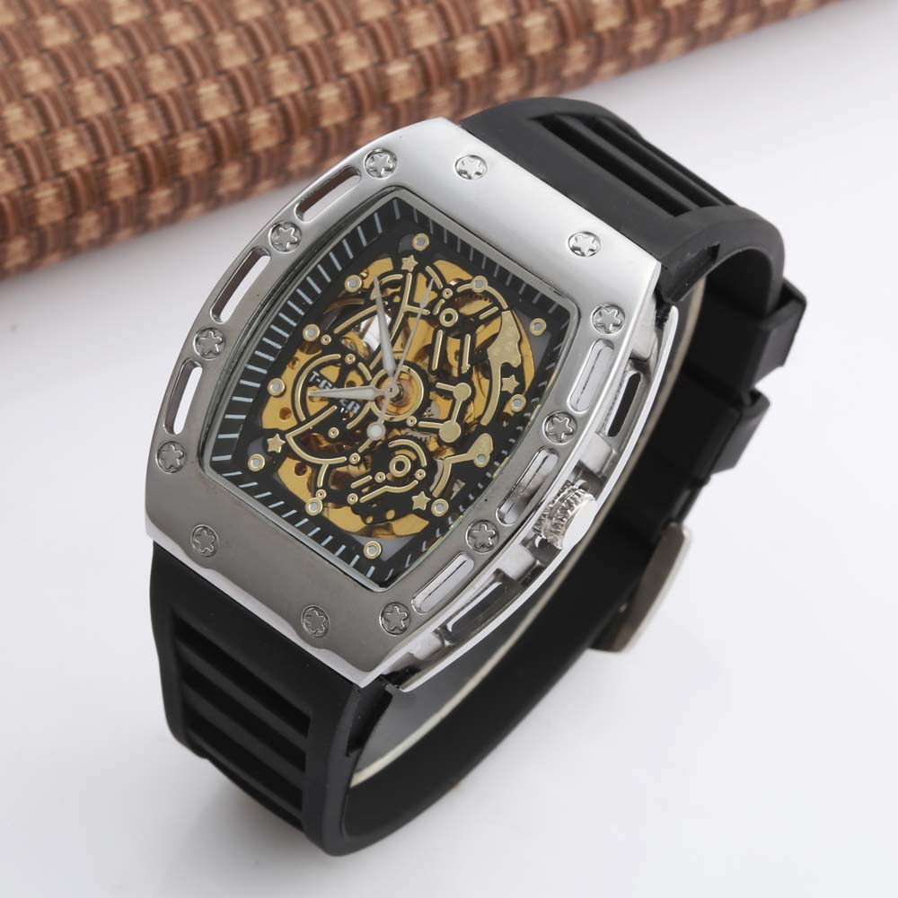 GOER Luxury Business Mens Watches Tonneau Skeleton Skull Mens Mechanical Watch Leather Dress Watch For Men Relogio MasculinoGOER Luxury Business Mens Watches Tonneau Skeleton Skull Mens Mechanical Watch Leather Dress Watch For Men Relogio Masculino