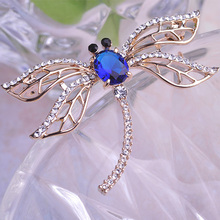 Hot Sale New Fashion Fine Jewelry Zircon Broches 2 Colors Lovely Dragonfly Crystal Rhinestone Scarf Pins Brooches For Women Girl