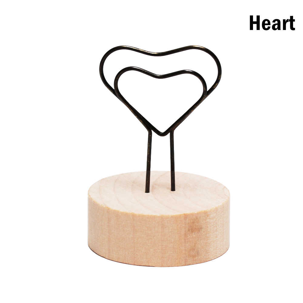 1PC Round Wooden Photo Clip Memo Name Card Pendant Holder Message Left Supporter Picture Frame Table Number Wedding Photo Holder
