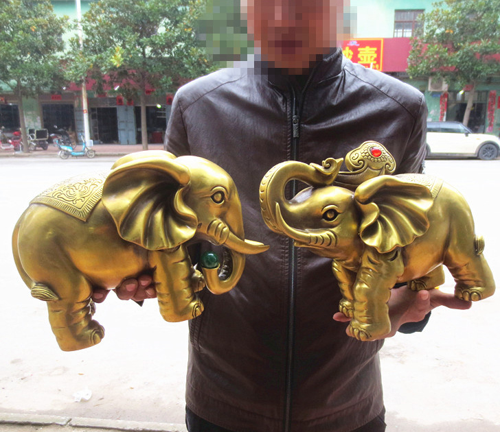 A pair LARGE HOME office SHOP Business ART Money Drawing GOOD LUCK Mascot # India Thailand FU Elephant FENG SHUI Brass statue