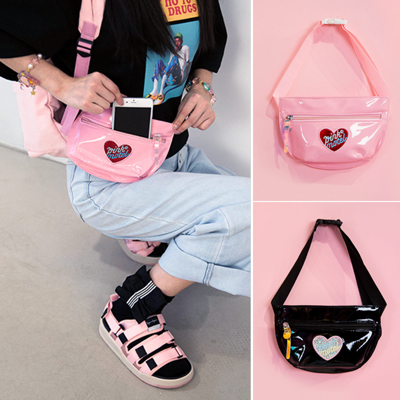 Fashion Laser Leather Fanny Pack Women Waist Bag Girls Hologram Chest Bag Beach Waterproof Shoulder Bags Travel Pink Pouch Purse