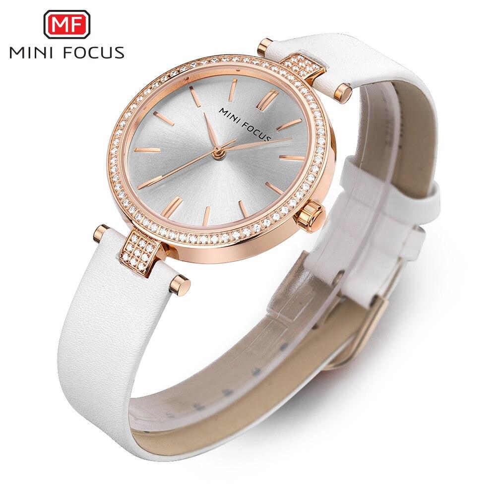 MINI FOCUS Fashion Women Watches Simple Crystal Rhinestone Girls Clock Brand Luxury Leather Quartz Watch Montre Femme For Gift