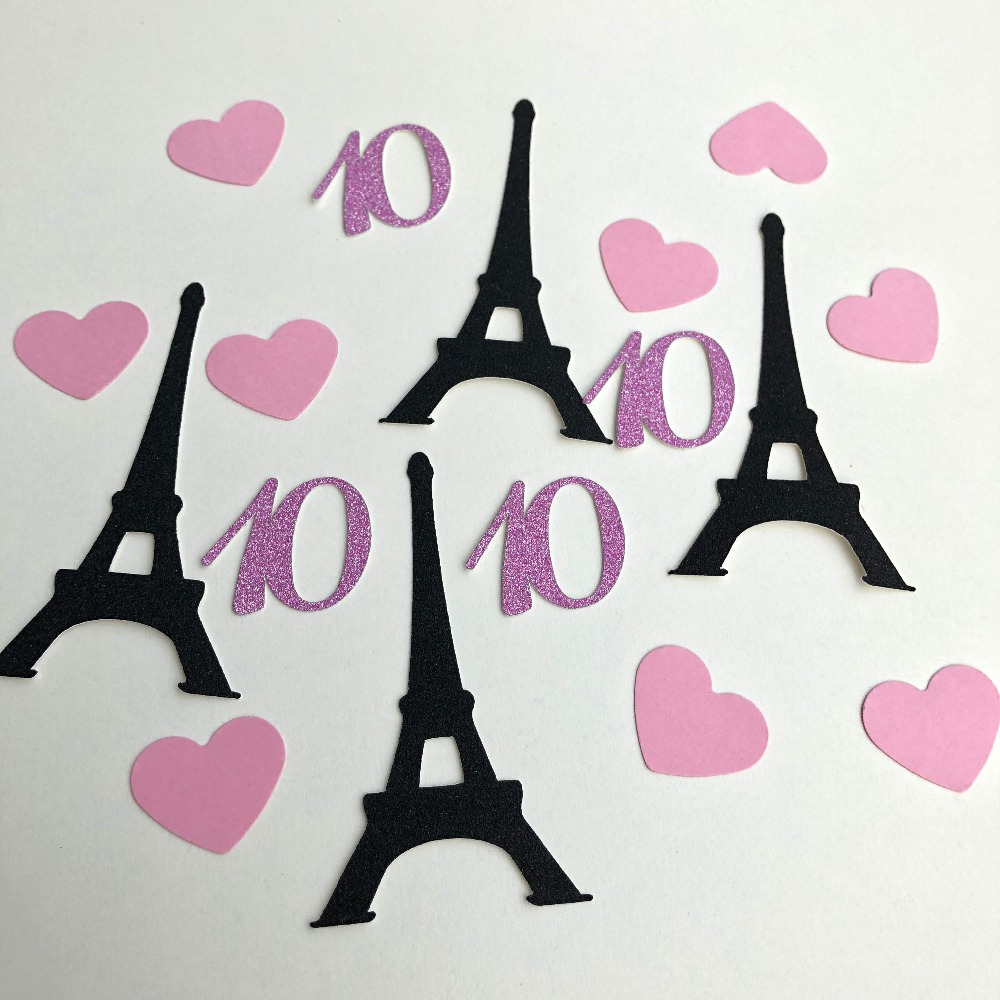 France Girls Paris happy <font><b>8th</b></font> 9th 10th 11th 12th 13th <font><b>birthday</b></font> Party decorations Tower Black Glitter covered black confetti image