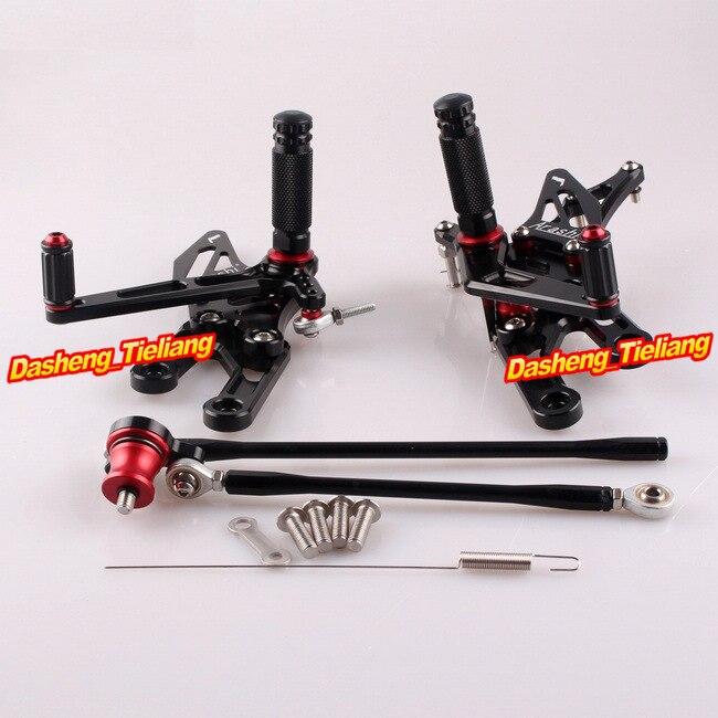CNC Adjustable Rearset Rear Set Footpegs For Honda CBR 1000 RR 2004-2007 & CBR600RR 2003-2006  Aluminum Alloy Black