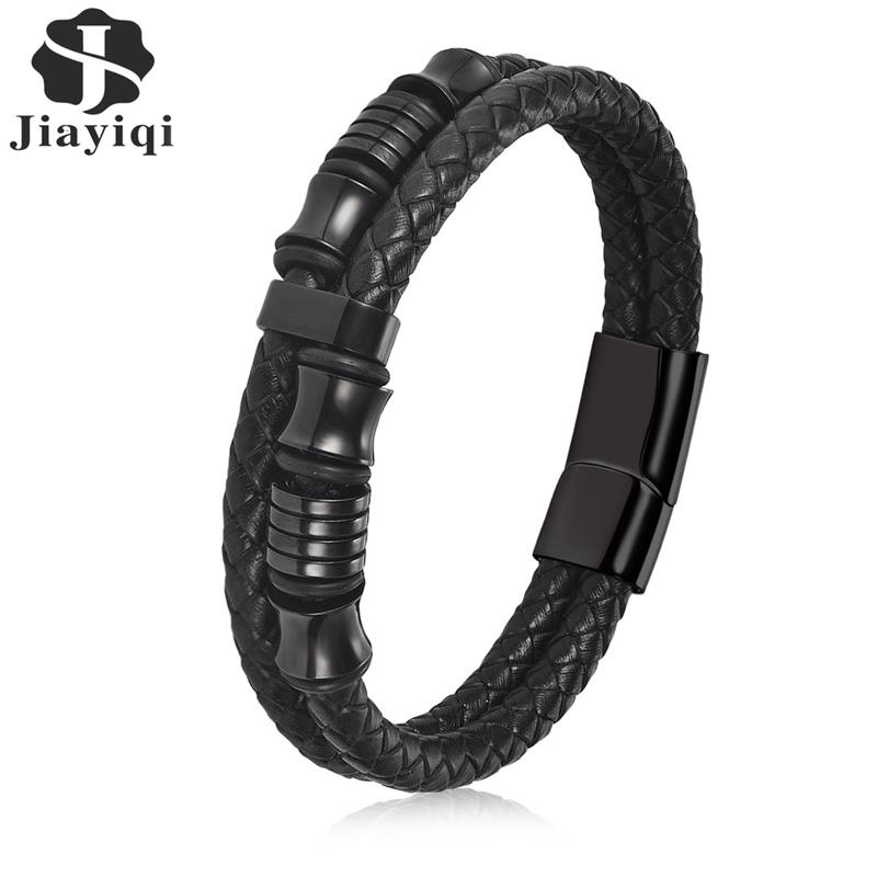 Jiayiqi Black Rope Chain Leather Bracelet for Men Jewelry Stainless steel Magnetic Clasp Fashion Vintage Male Bangle 18/20/22cm jiayiqi fashion multilayer genuine leather bracelet for men jewelry stainless steel bangle punk braid black brown chain magnetic