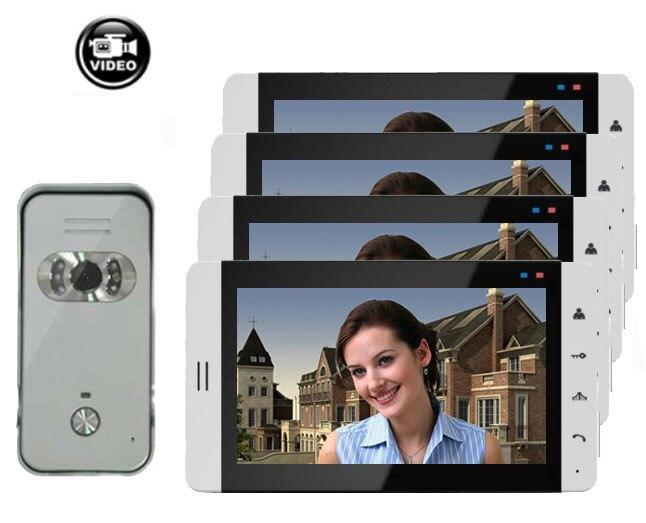"""Система домашнего Интерком охранника """" видео домофон система монитор с функцией записи(опционально) сенсорная кнопка 700TVL ИК камера 1V4"""