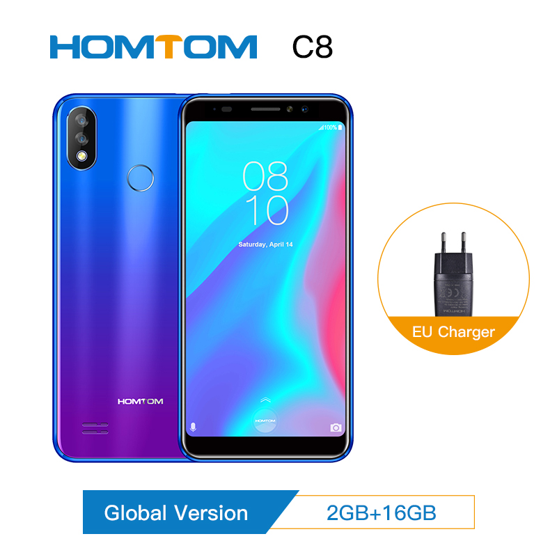 Original Version HOMTOM C8 Mobile Phone 5.5inch Android 8.1 MT6739 Quad Core 2GB+16GB Smartphone Face ID + Fingerprint 4G FDD