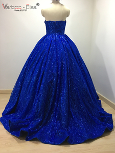 Image 2 - VARBOO_ELSA Hot Sale Sparkly Royal Blue Evening Dress Sequined Sexy V Sleeveless Prom Gown 2018 Custom ballgown vestido de festa