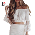 Slash Neck Chiffon Blouse Sexy Off Shoulder Crop Top Blusas 2017 Summer Women Blouses Embroidery Flare Sleeve White Casual Shirt