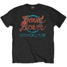 David Bowie Mens 1978 World Tour T-shirt Black O-Neck Tee Shirt Cool Tops Top Tees Custom Any Logo Size T