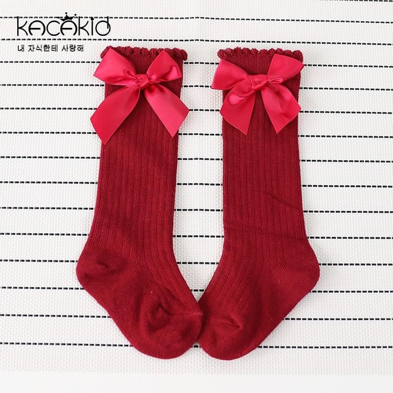 Fashion Leg Warmers Baby Socks Cute Newborn Baby Girl Cotton Solid Pattern Knee High Socks Girls Children Sock 0-2 Years