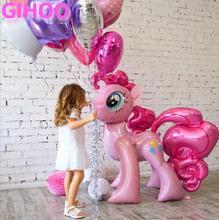 1 PC 100*97 CM Rosa caballo globos de papel de aluminio globo de helio juguetes de los niños boda cumpleaños Animal de fiesta decoración suministros