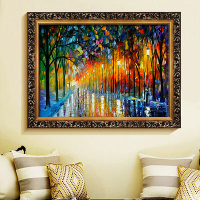 Handpainted font b Knife b font Palette Oil Paintings Color Tree Modern Wall Art Canvas Home