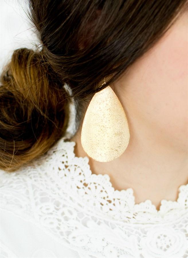 Veleprodaja marke zlatna velika metalik suza naušnice za žene modni - Modni nakit - Foto 4