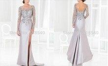 free shipping robe de soiree Formal party 2014 new hot sexy backless long sleeve beaded silver vestido festa evening dress