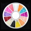 12 Colors  DIY Nail Art Half Round Pearls Rhinestone Decoration Wheel 2mm