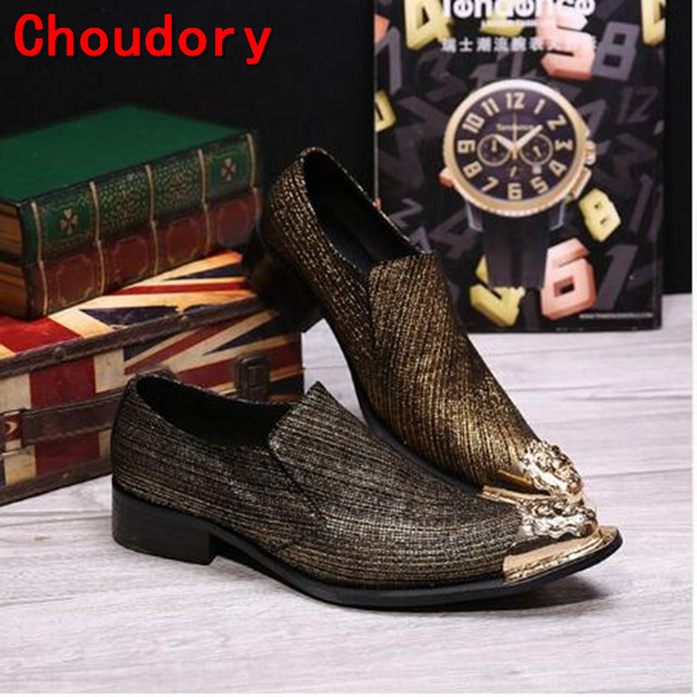 Choudory Casual Flats Sliver Gold Metal Tip Toe Handsome Loafers Mens  glitter Shoes Skull High Heels Dress Wedding Shoes Leather 79b21e9539fe