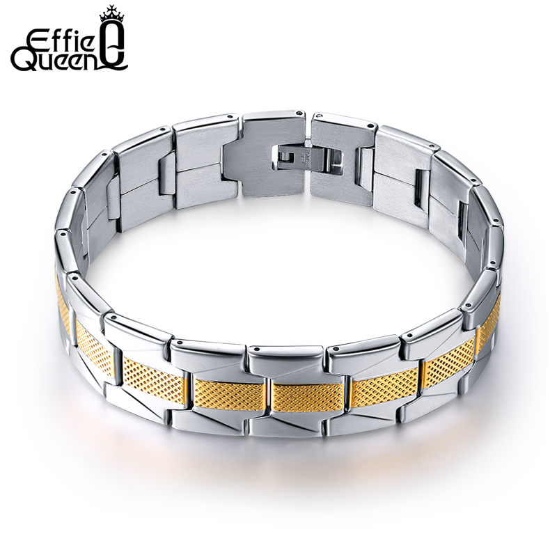 Effie Queen Jewelry Men Gold_color Bracelet Links & Chains Stainless Steel Bracelet for Bangle Male Accessories Wholesale IB07 цена 2017