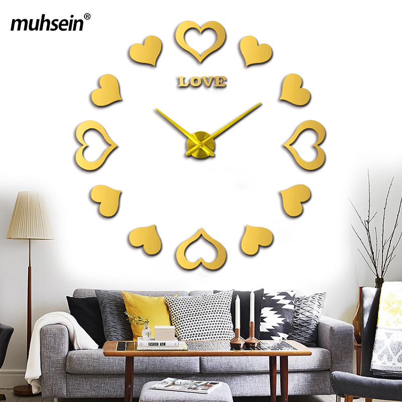 Muhsein 2017 New Large Wall Clock Sticker Decorative Clocks Modem Design Wedding Decoration Home Watch Free Shipping