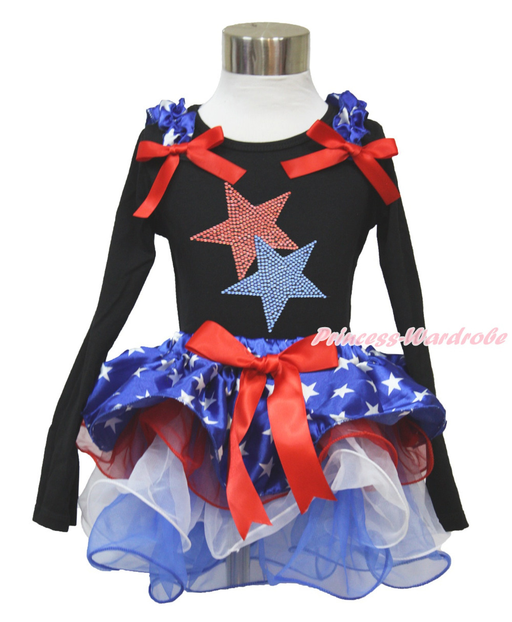 4th July Rhinestone Australia Flag Heart Black Long Sleeves Top Patriotic Star Red White Petal Pettiskirt NB-8Year MAMH233 4th july america flag style stripe pettiskirt white ruffle tank top 2pc set 1 8year mamg1143