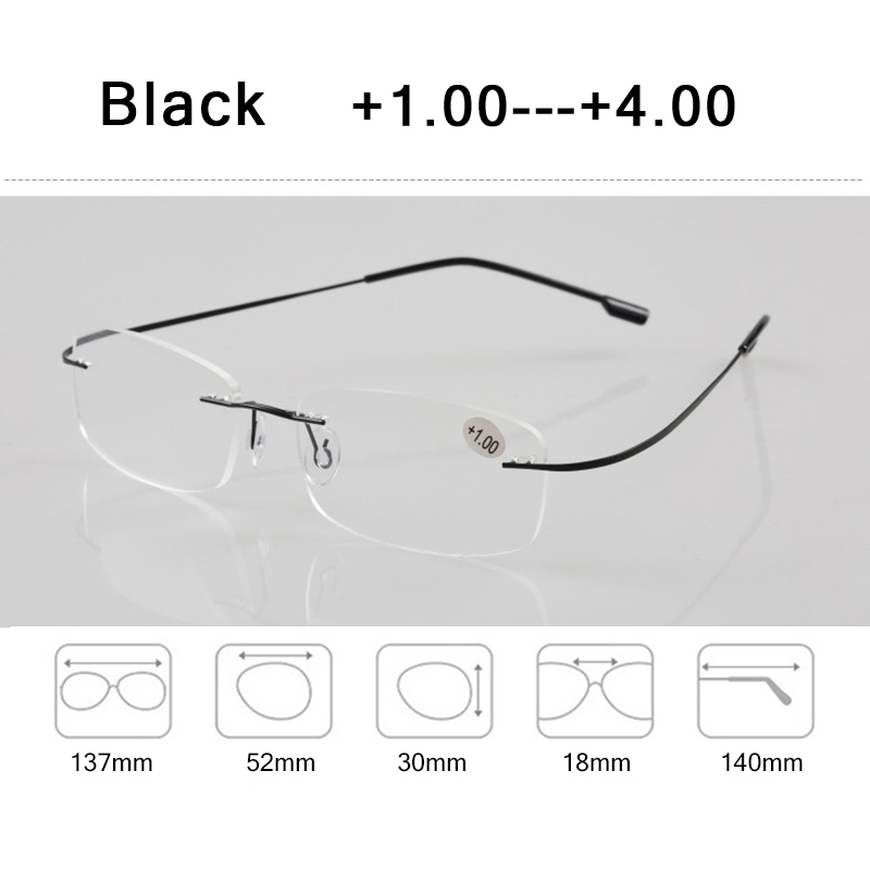 Memory Titanium Rimless Reading Glasses Man Women Square Prescription Frameless Eyeglasses 1 0 2 0 3 0 4 0 Diopter Z630 in Men 39 s Reading Glasses from Apparel Accessories