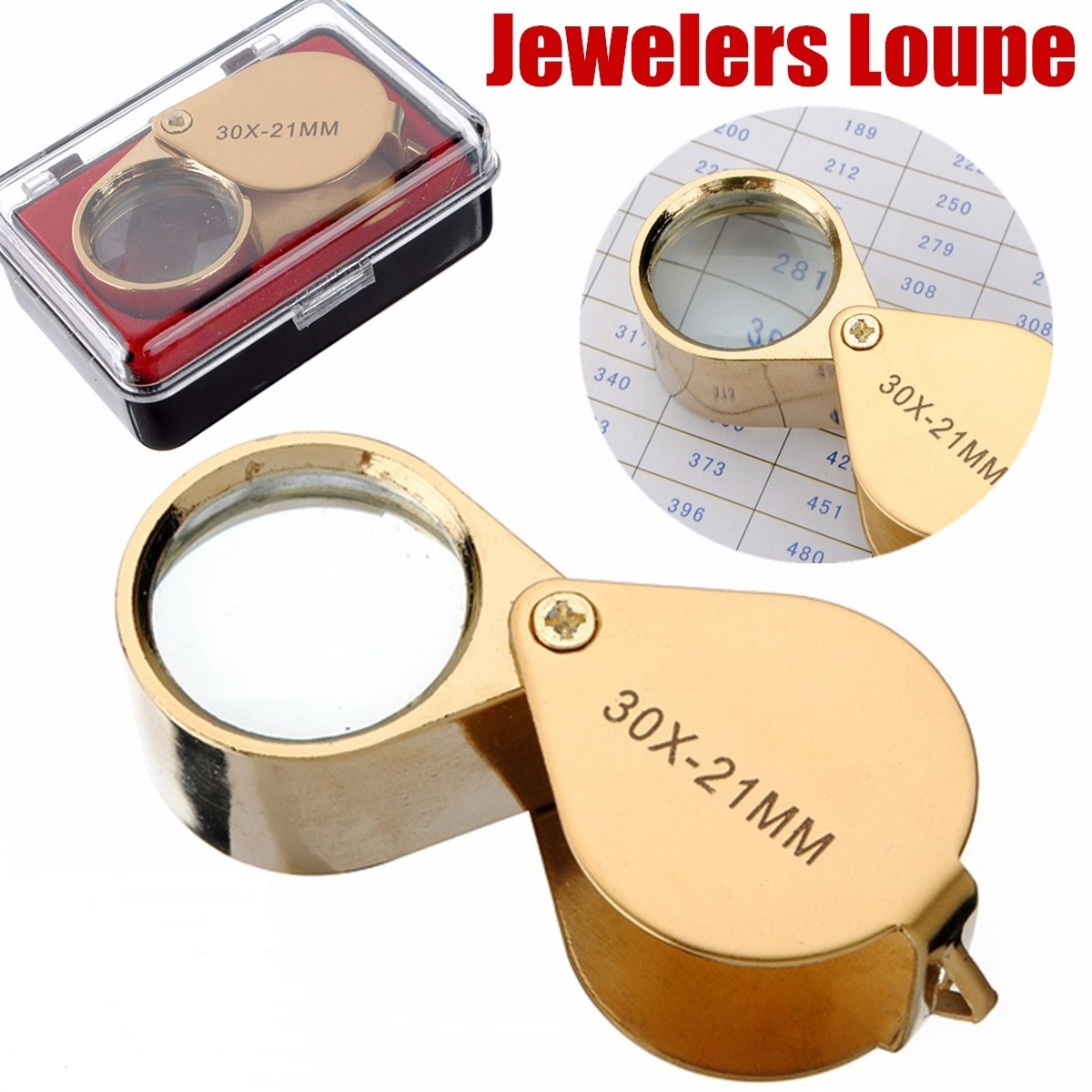 Pocket Jeweler Loupe Magnifier Coins Golden Stamps,Antiques and More 30X Glass Lens Magnifying Glass for Jewelry